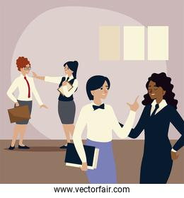 business people, female employees with folder and briefcase