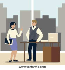 business woman and man with stacked documents on desk in the office
