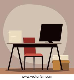 office desk computer chair and paper stack