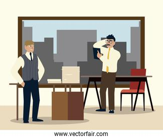 business people characters working in office