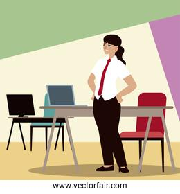 business people, businesswoman with computer desks and chair office