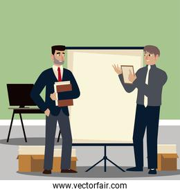 business people, businessmen in office with board presentation and documents