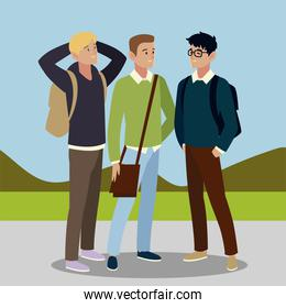 men students character with bags in the outdoors