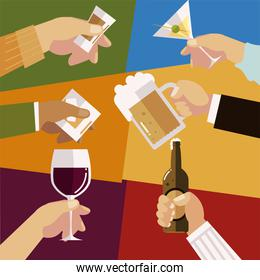 hands with different glasses liquor alcohol celebration, cheers