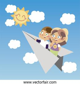 cute boy and girl on paper plane cartoon, children