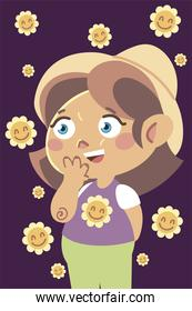 cute little girl with hat and funny flowers cartoon, children