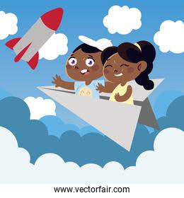 cute little girl and boy on paper plane cartoon, children