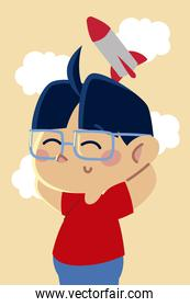 cute little boy with glasses and rocket toy cartoon, children