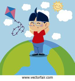 boy playing with kite on planet cartoon, children