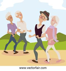 seniors active, old couples walking in the park