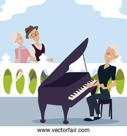 seniors active, old couple walking and elderly woman playing piano