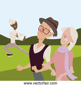 seniors active, happy old woman practicing yoga and old couple walking