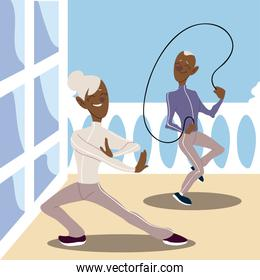 seniors active, old man practicing rope jumping and mature woman practicing yoga