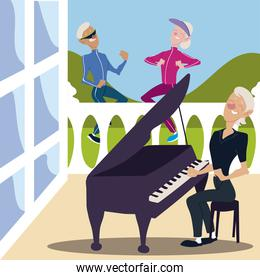 seniors active, old man and woman jogging and elderly woman playing piano