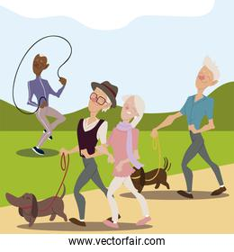 seniors active, old people walking with dogs and mature man with jumping rope