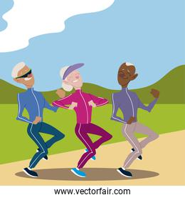 seniors active, old people jogging in the park