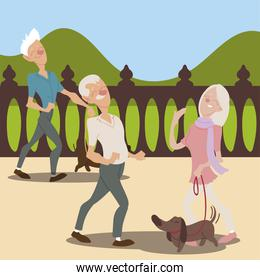 seniors active, elderly couple with dog and old man walking