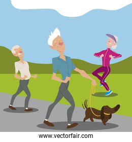 seniors active, old men walking with dog and elderly woman jogging character