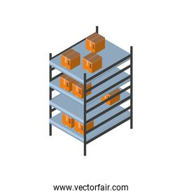 Delivery and logistics isometric boxes on furniture vector design