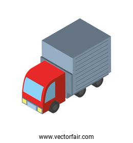 Delivery and logistics isometric red truck vector design