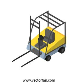 Delivery and logistics isometric forklift vector design