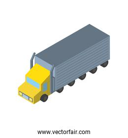 Delivery and logistics isometric yellow truck vector design
