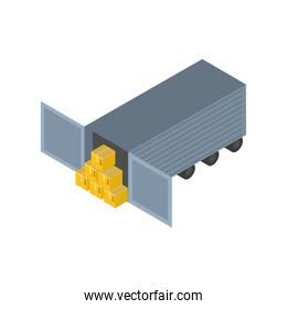 Delivery and logistics isometric boxesin front of container vector design