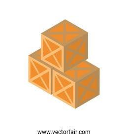 Delivery and logistics isometric boxes vector design