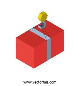 Delivery and logistics isometric crane with container vector design