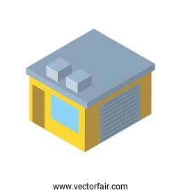 Delivery and logistics isometric yellow garage vector design