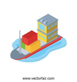 Delivery and logistics isometric ship with containers vector design