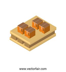 Delivery and logistics isometric boxes set vector design
