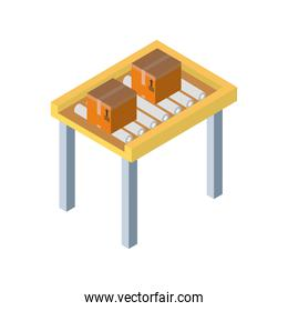 Delivery and logistics isometric boxes on machine vector design