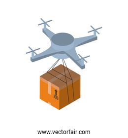 Delivery and logistics isometric drone with box vector design