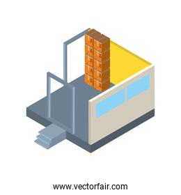 Delivery and logistics isometric boxes in garage room vector design