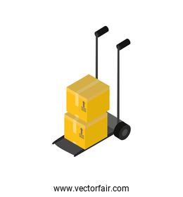 Delivery and logistics isometric boxes on cart vector design