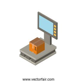 Delivery and logistics isometric box on scale vector design