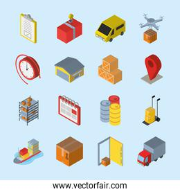 Delivery and logistics isometric icon bundle vector design