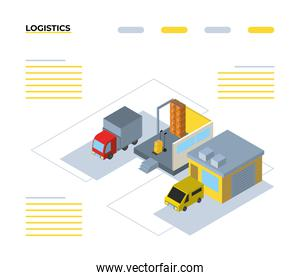Delivery and logistics isometric garages and trucks vector design