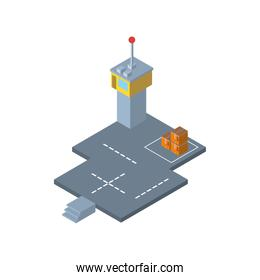Delivery and logistics isometric boxes at airport vector design