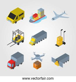 Delivery and logistics isometric icon set vector design
