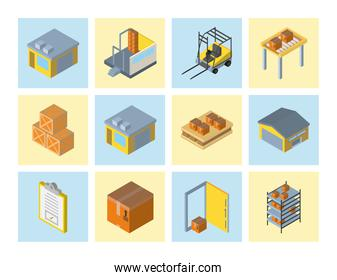 Delivery and logistics isometric icon collection vector design