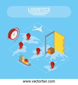 Logistics and delivery isometric gps marks with icons on map vector design