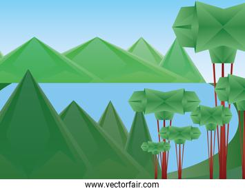Polygonal landscape of trees lake and mountains vector design
