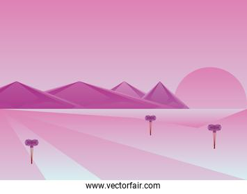 Polygonal landscape of mountains and plants on purple background vector design