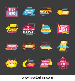 News banners and labels symbol collection vector design