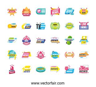 News banners and labels icon bundle vector design