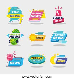 News banners and labels icon set vector design