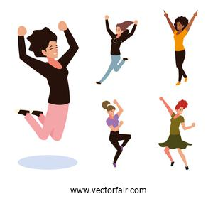 group female people jumping and dancing celebrating set