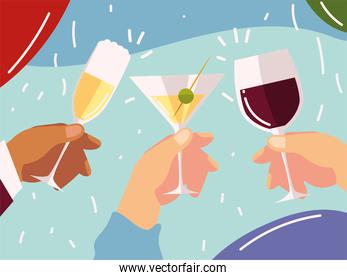 cheers, hands with cocktails wine glass celebration